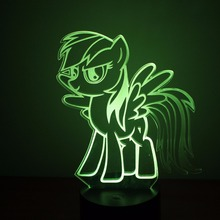 Creative Night Light Table Lamp 3D LED Colorful Gradient Atmosphere Light Fixture Little Baby Horse Lamp Sleeping Night Light