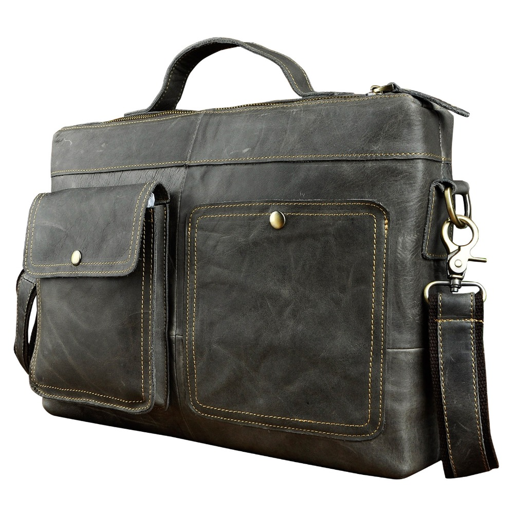 """Le'aokuu Men Real Leather Antique Style Black Briefcase Business 13"""" Laptop Cases Attache Messenger Bags Portfolio 2119g-in Briefcases from Luggage & Bags    1"""