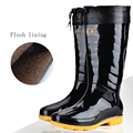 Hot sale pvc black and camouflage winter fishing boots for men washing bot for car rain boots with Plush lining winter galoshes