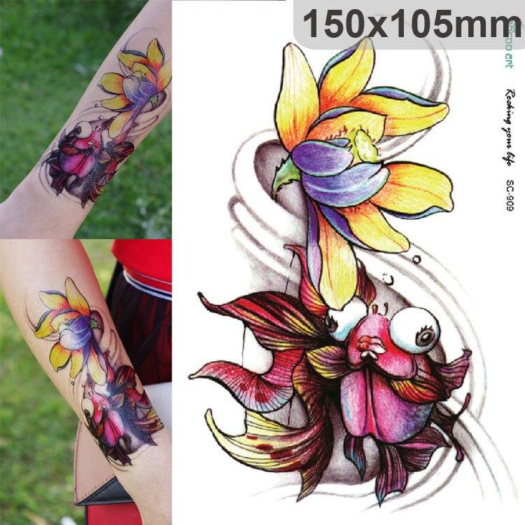 Impermeable Tatuaje Personalizado Lindo Color Rosa Loto Flor Brazo