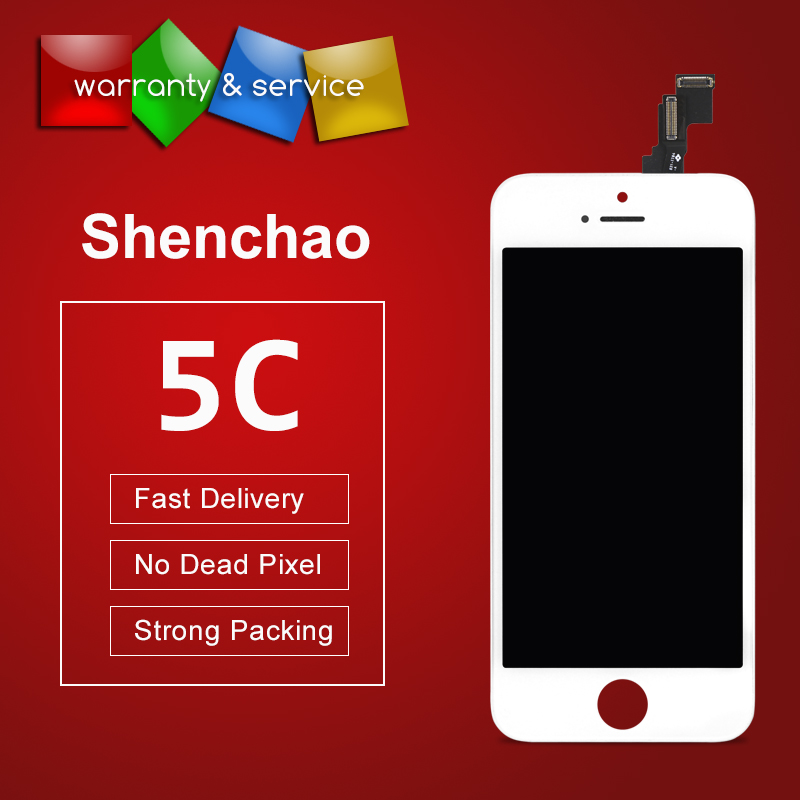 100% For shenchao quality Display For iphone 5C LCD Display Assembly Screen digitizer Replacement with camera holder