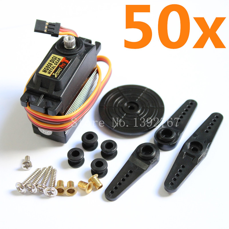 50pcs Genuine TowerPro MG958 Digital Servo Motor 15kg Standard 7075 Metal Gear RC Helicopter RC Airplane Remote Control Cars superior hobby jx pdi 6215mg 15kg high precision metal gear digital standard servo