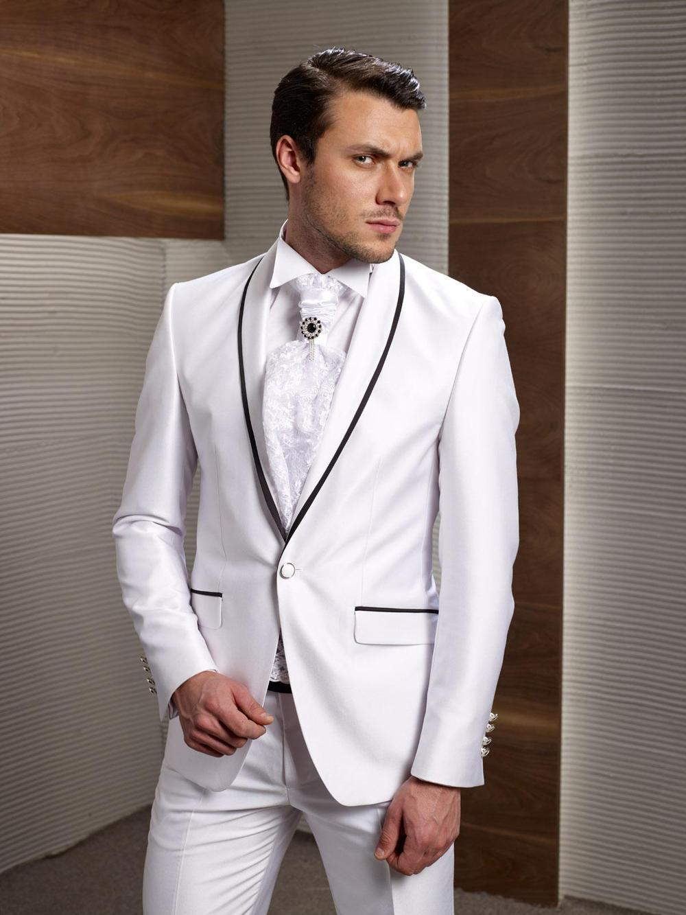 Por Wedding Suits For Men Black White