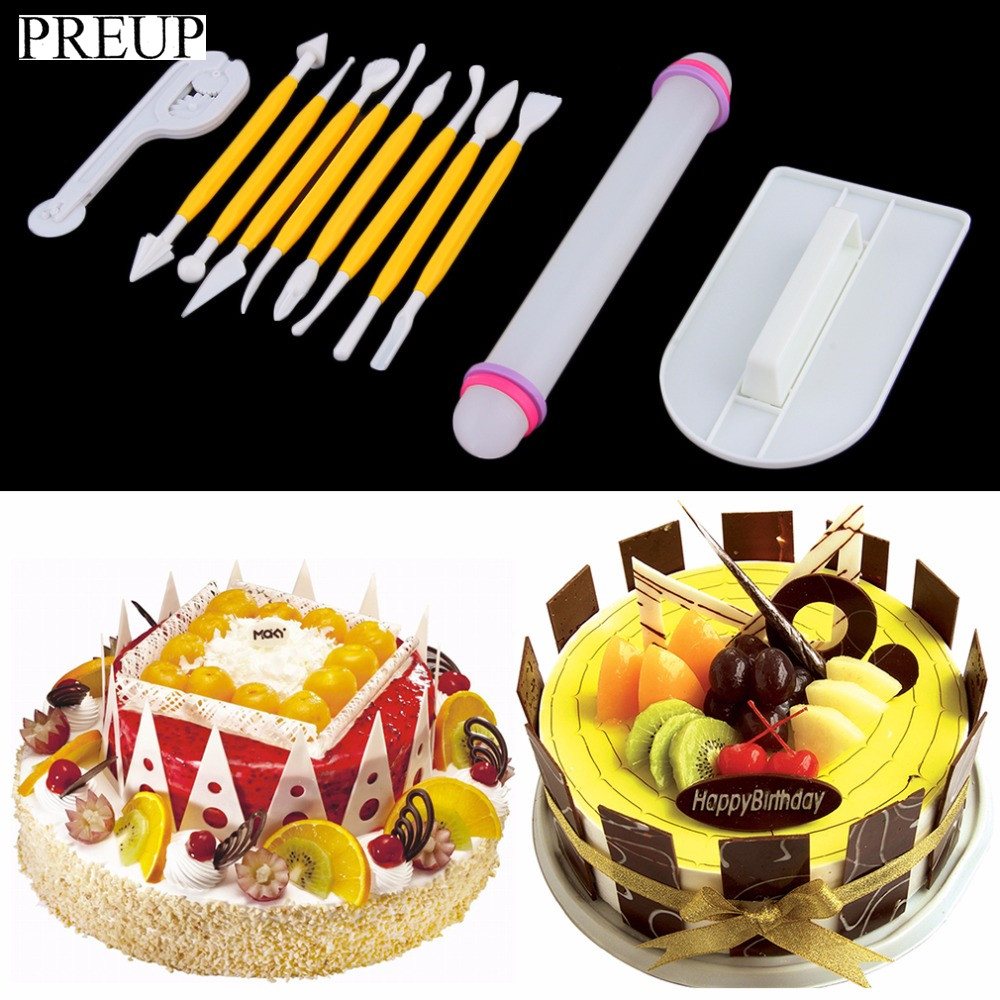 PREUP Safe Plastic 11Pcs Cake Decorating Fondant Rolling Pin Modelling Tool Embosser Mould Baking