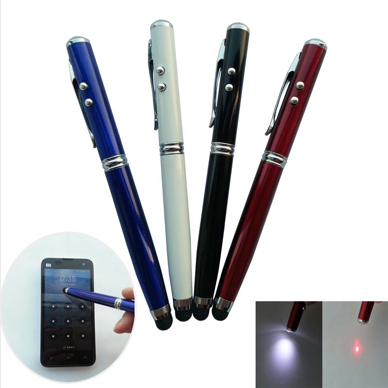 Illumination Stylus LED 4in1 Laser Pointer For Capacitive Touch Screen Black Pen