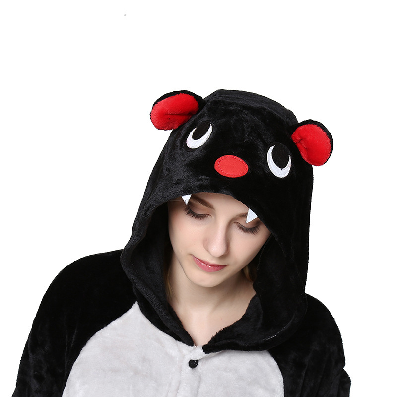 Animal Bat Costume Onesies Kigurumi For Adults Flannel Women Pajama Sets Unisex Onepiece Pokemon Jumpsuit Men Hooded Sleepwear