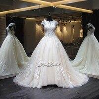 Vestido De Noiva Lace Tulle Wedding Dress 2018 Corset Open Back Applqiued Sleeveless Bridal Gown Robe
