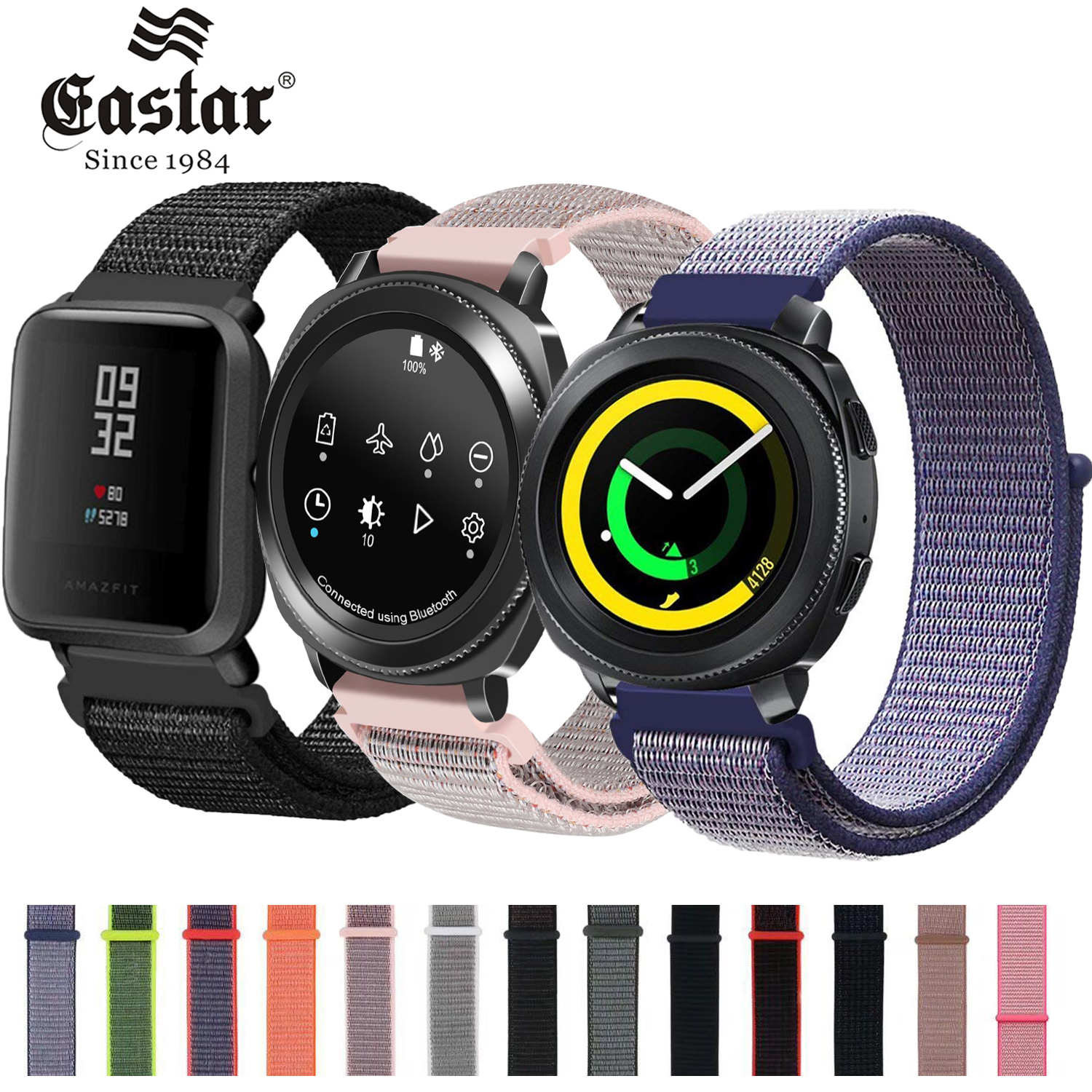 Nylon Woven Watch Band 20mm 22mm Watch Strap For Amazfit Pace Stratos Pace 2 For Samsung Gear Sport S2 S3 Frontier Classic
