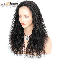 WoWEbony 4*4 Silk Top Lace Front Wig Silk Base Human Hair Wigs Invisible Parting Kinky Curly Indian Remy Hair Pre Plucked