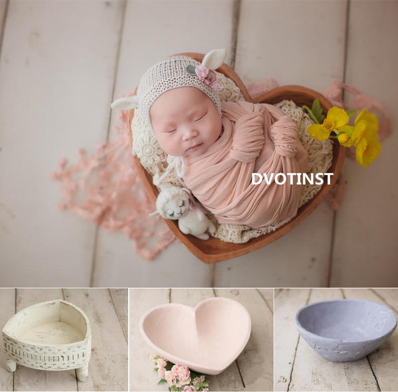 Accessoires de photographie nouveau-né Dvotinst pour bébé rétro posant coeur plaque panier baignoire Fotografia accessoires Studio pousses Photo Prop