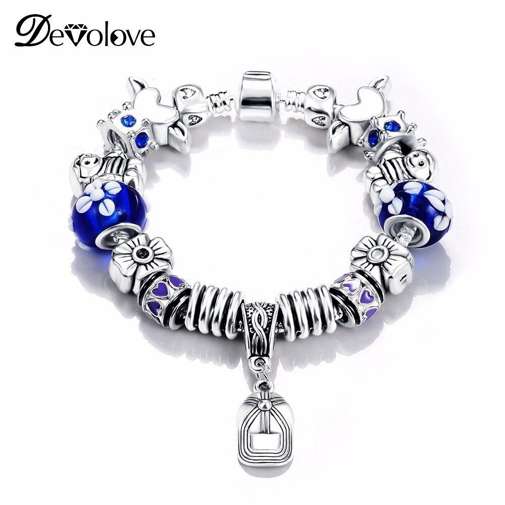 Blue Beads Sliver Plated Snake Chain Charm Strand Bracelet