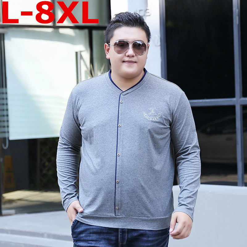 Grande taille 8XL7XL nouveau manches longues bouton T-shirt hommes marque vêtements décontracté imprimé T-shirt mâle extensible de qualité supérieure T-shirt grande taille