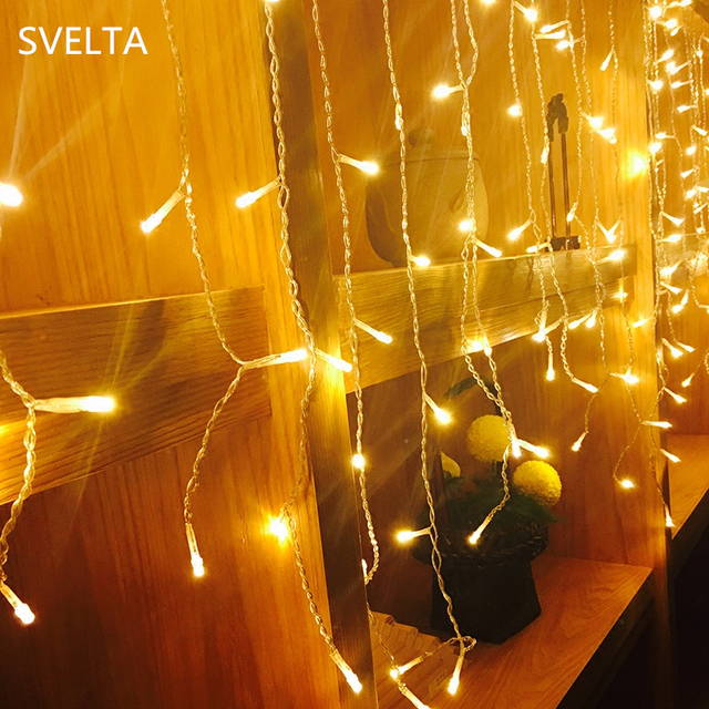 svelta led garland christmas icicle string lights 2m drop 09m gerlyanda for decor fairy xmas