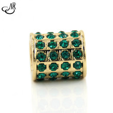Endless Bracelet Charm Gold Color Floating Charms Dark Green Crystals Charm For Fashion Women Jewelry MFC3494