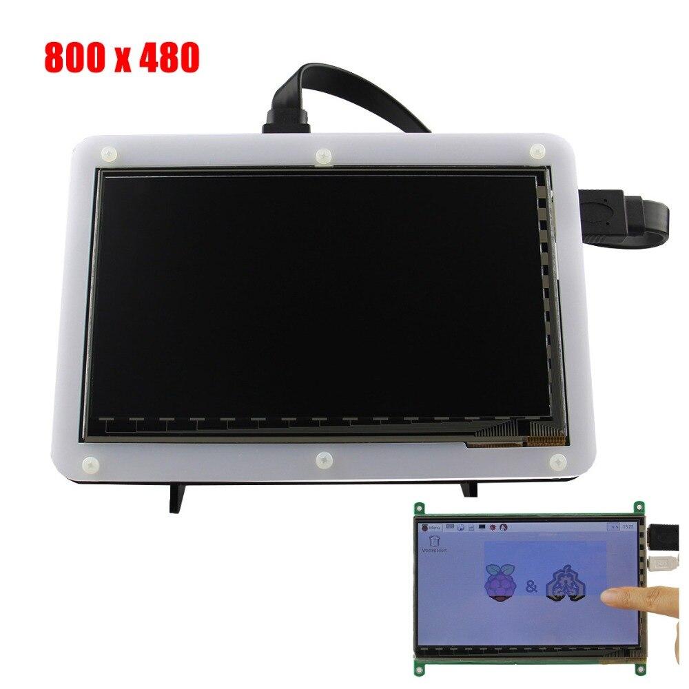 7 Pouce 800x480 TFT LCD HDMI Capacitif Écran tactile Avec Acrylique Stander Support Pour Raspberry Pi 3B/2B/B Plus