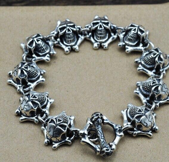 Chaîne et Lien Bracelets Thai argent épais bracelet rétro punk style démon crâne dominateur 925 sterling bracelet en argent