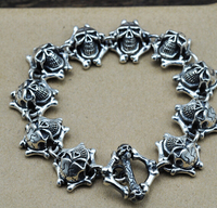 Chain & Link Bracelets Thai silver thick bracelet retro punk style demon skull domineering 925 sterling silver bracelet