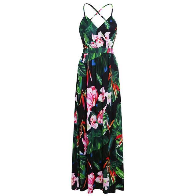 Ladies Print Floral Long Boho Bohemian Beach Summer Dress Women Sundress Sexy V-Neck Sleeveless Strap Maxi Vintage Dress Vestido 3