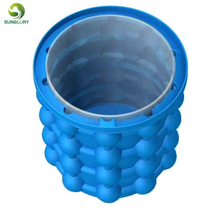 Ice Cube Maker Genie The Revolutionary Space Saving Ice Genie Ice Ball Maker Bucket Silicone Trays Mold Hold Up To 120 Ice Cubes