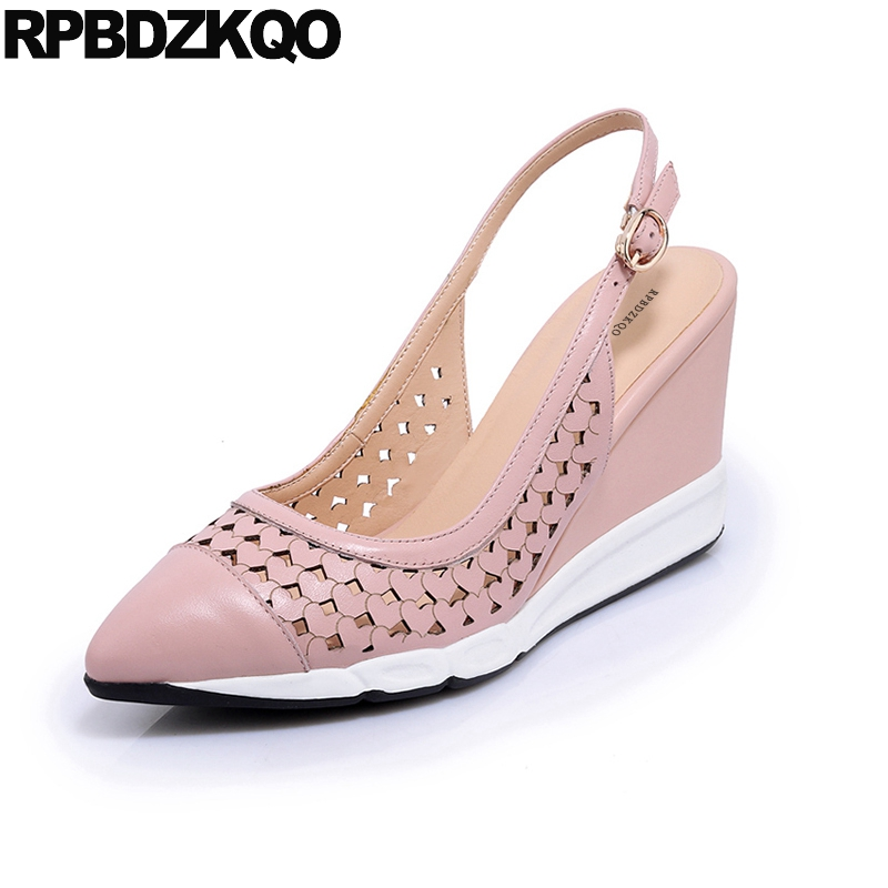 Nude 3 Inch Summer Sandals Cool Strap Heart Casual Shoes Women Wedge High Heels Slingback Pink Pumps Pointed Toe Genuine Leather fedonas shoes women thick high heels slingback ankle strap shoes woman genuine leather pointed toe summer sandals women