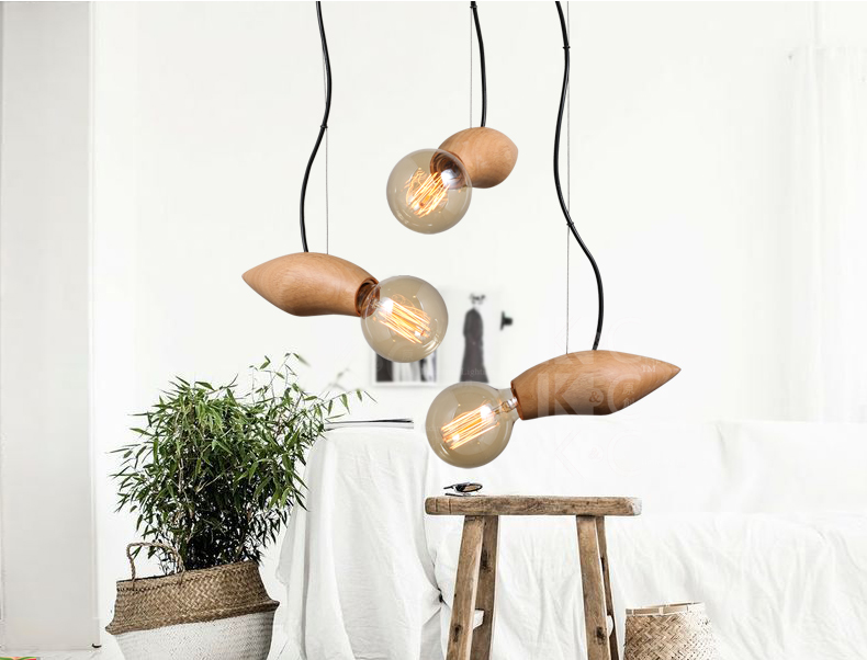 Creative Art Deco Lighting Restaurant Cafe Wood Pendant Lamp Edison Bulb Light Fixture Solid Wood Decoration Pendant Lamp brass half round ball shade pendant light led vintage copper wooden lighting fixture brass wood fabric wire pendant lamp