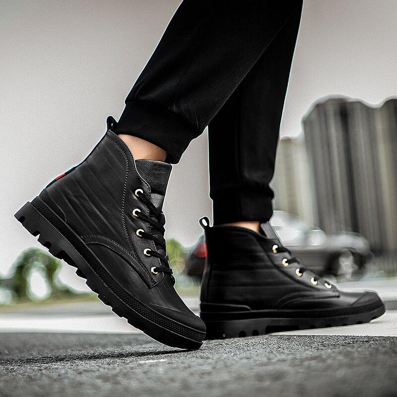 Haute De Plein La Au En Mode Air Cheville Chaussures Garder Hommes Bottes Chaud Cuir W4 Marche Fourrure D'hiver Casual Neige black Fur Black Avec Quanlity Véritable pwqzAqEd