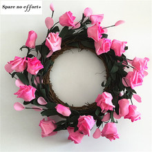 35CM Floral Artificial Rattan Wreath Door Hanging Wall Window Decoration Wreath Holiday Festival Wedding Decor Pink(China)