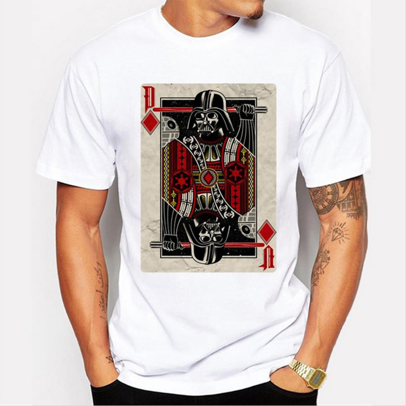 Deck Vader Poker design Men t-shirt Star Wars retro printed male cool tops hipster vinta ...
