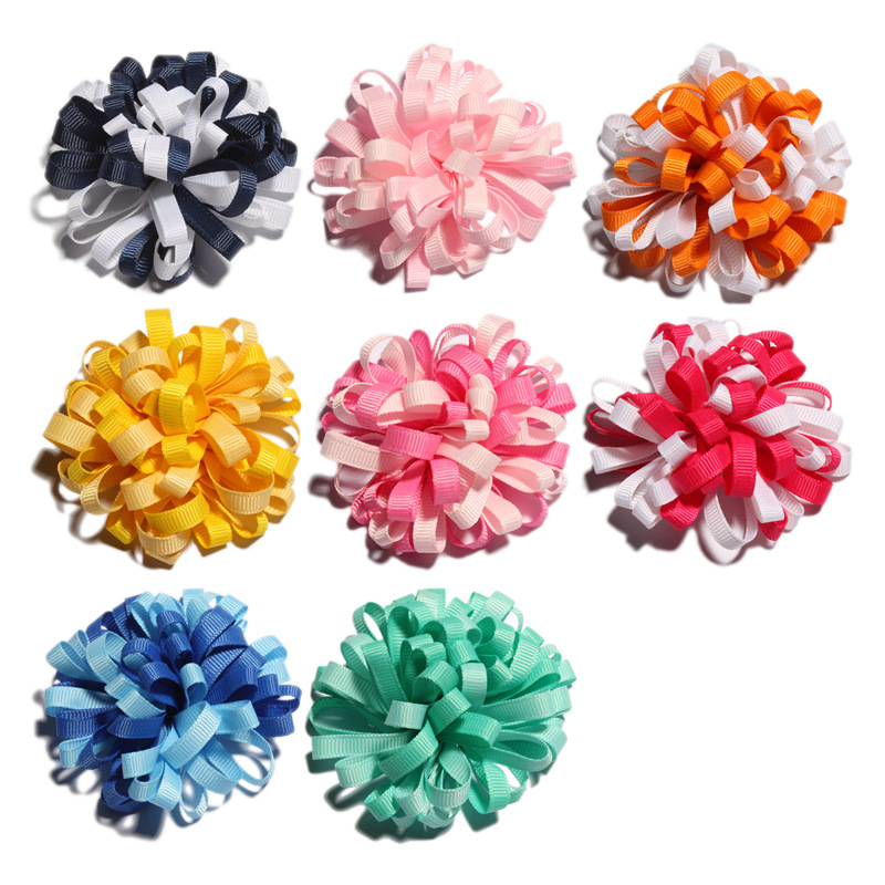 120PCS 8CM Newborn Twisted Hair Flower With Clip DIY Material For Headband Artificial Fabric Flowers For Hair Accessories