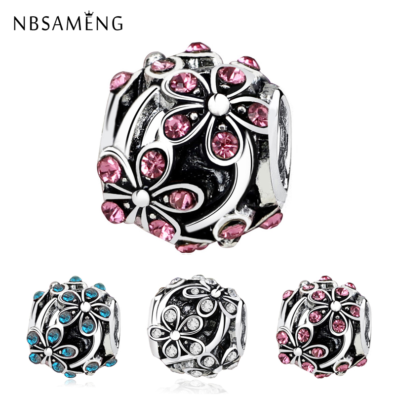 2018 New Silver Plated Bead Charm European Vintage Orange Blossom with Crystal Beads Fit Pandora Bracelet Bangle DIY jewelry