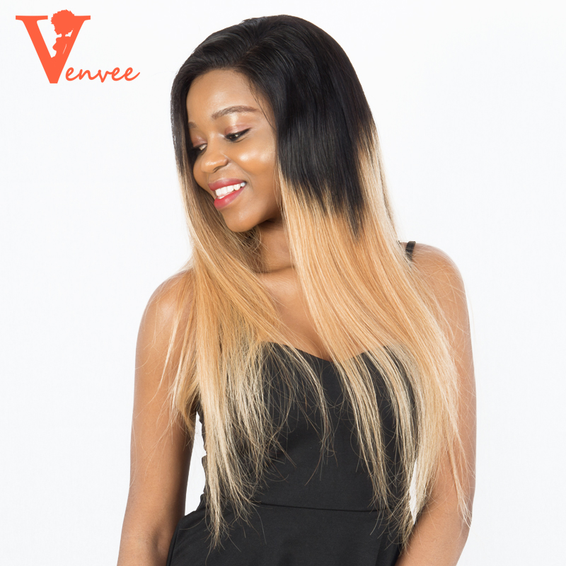 T1b/27 Colorful Honey Blonde 250% Density Lace Front Wigs Pre Plucked Brazilian Remy Human Hair Straight Wigs Venvee