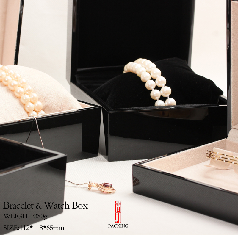 TOP Quality Black Paint Box For Bracelet Bead Watch Bangle Box or Case Only For International Jewelry brand  processing