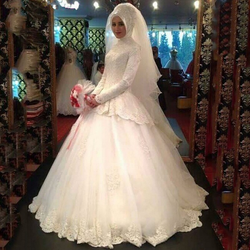 Arabic Bridal Gown Islamic Ball Gown Vintage Lace High Neck Long Sleeve Muslim Wedding Dress Ivory Hijab Wedding Dress 2016
