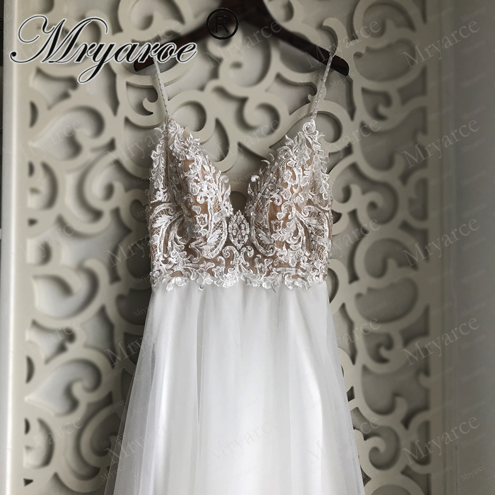 Mryarce Exclusive lace Beading Flowing Tulle A Line  Wedding Dress Open Back Summer Beach Elegant Bridal Gowns  (4)