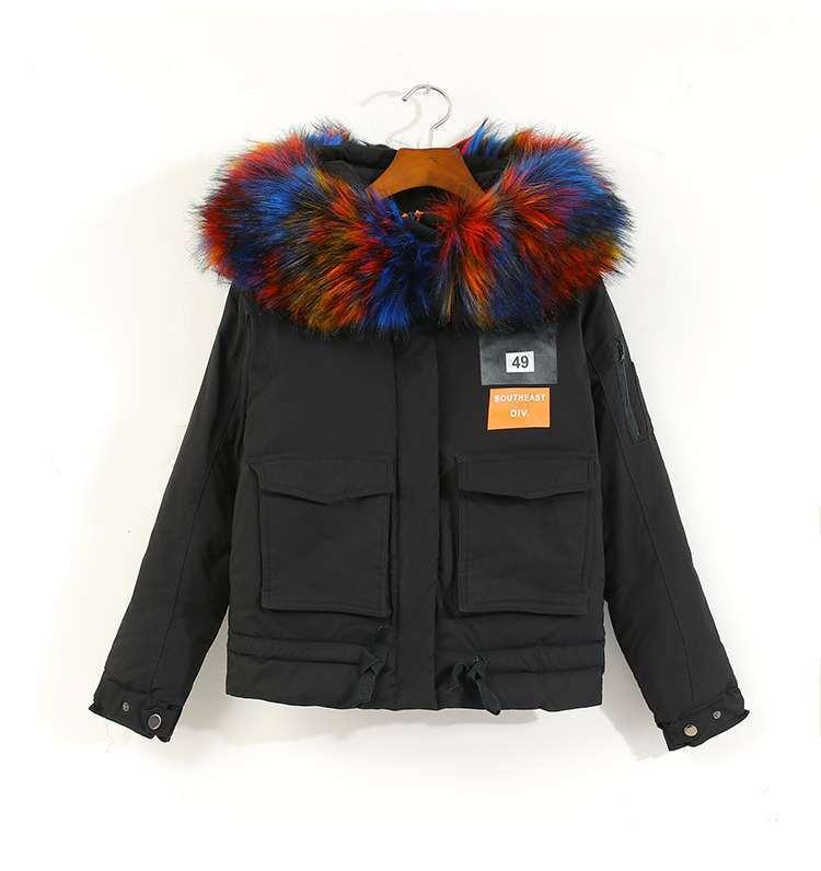 European Winter Short Jacket Women Parkas Slim Big Fur Artificial Fura and Linning Not Detouchable Unremovable Casual Women Coat 5pcs fura keychain