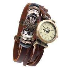 New Women Genuine Leather Watch Triple Bracelet Watch Cross Charm Wristwatch Fashion Reloj Para Dama Watch