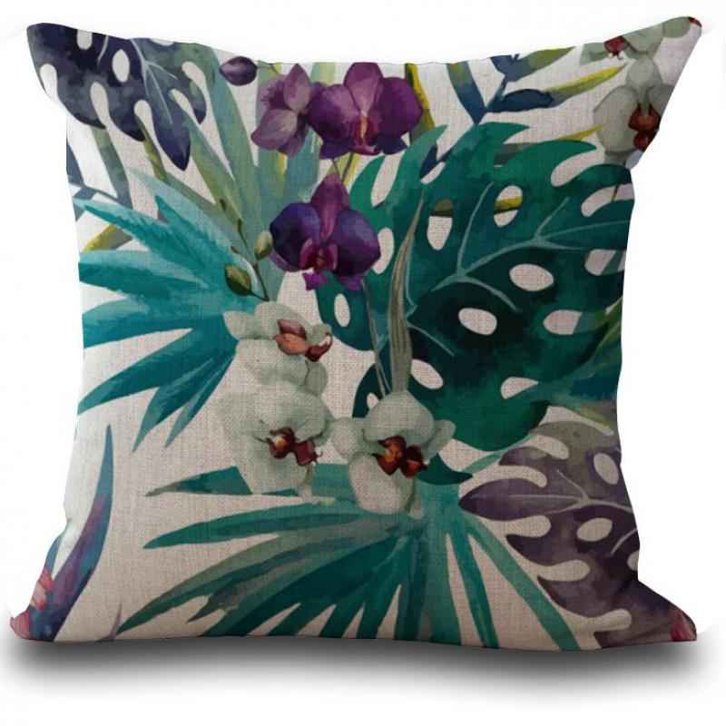 Factory Direct Supply Tropical Plants Flamingo Butterfly Printing Linen Pillow Cushion For Home Decor No Inner Filling