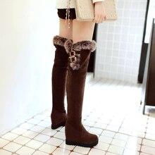 Femmes bottes de neige chaude bottes 2017 plus la taille de 11 femmes sur genou haute hiver bottes plate-forme de mode Coins bottes avec fourrure