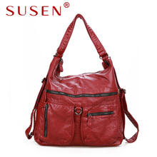 SUSEN 2426 Women Washed PU Leather Work Tote Zipper Closure Shoulder Bag Large Capacity  Hobo Satchel  Bag for Female