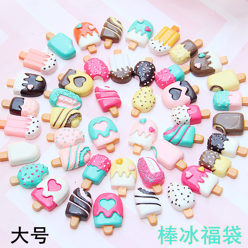 Large Stick Ice Blessing Bag Resin Ice Cream Accessories Diy Mobile Phone Case Fridge Stick Children Cute Headdress Toy For Kids