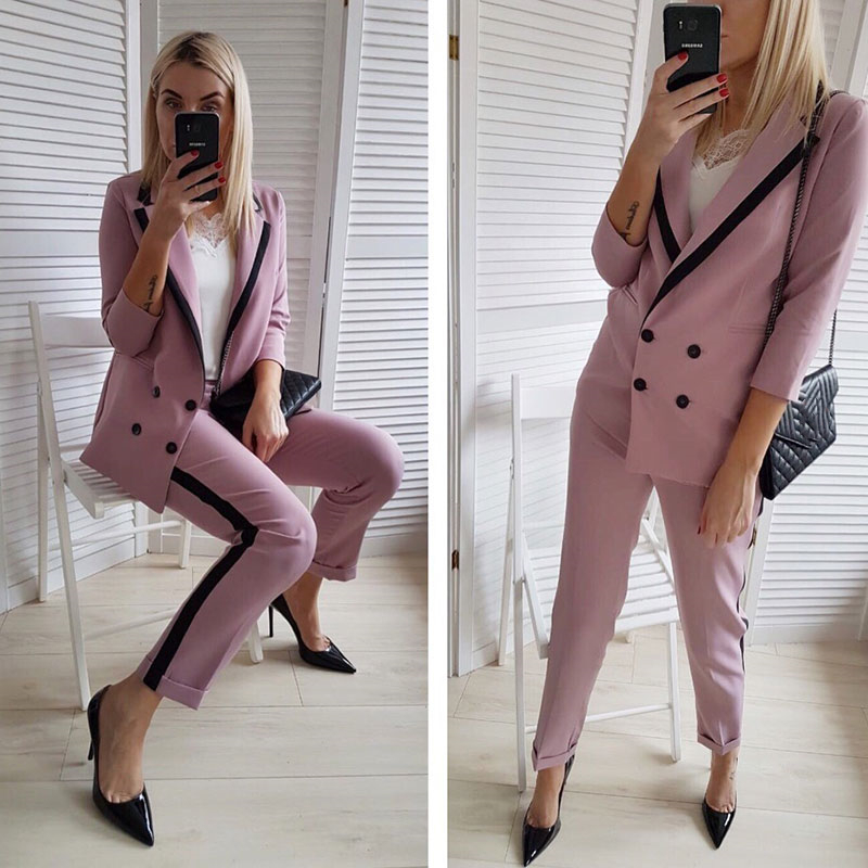 Taotrees Elegant Double Breasted Women Pants Suit Notched Collar Blazer Jacket & Trouser Slim Set Business Suits