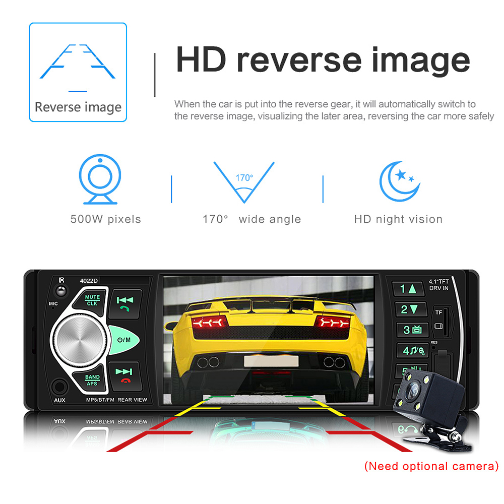 """Image 5 - AMPrime Autoradio 4022D 4.1"""" 1 Din Car Radio Audio Stereo USB AUX FM Audio Player Radio Station With Remote Control Car Audio-in Car Radios from Automobiles & Motorcycles"""