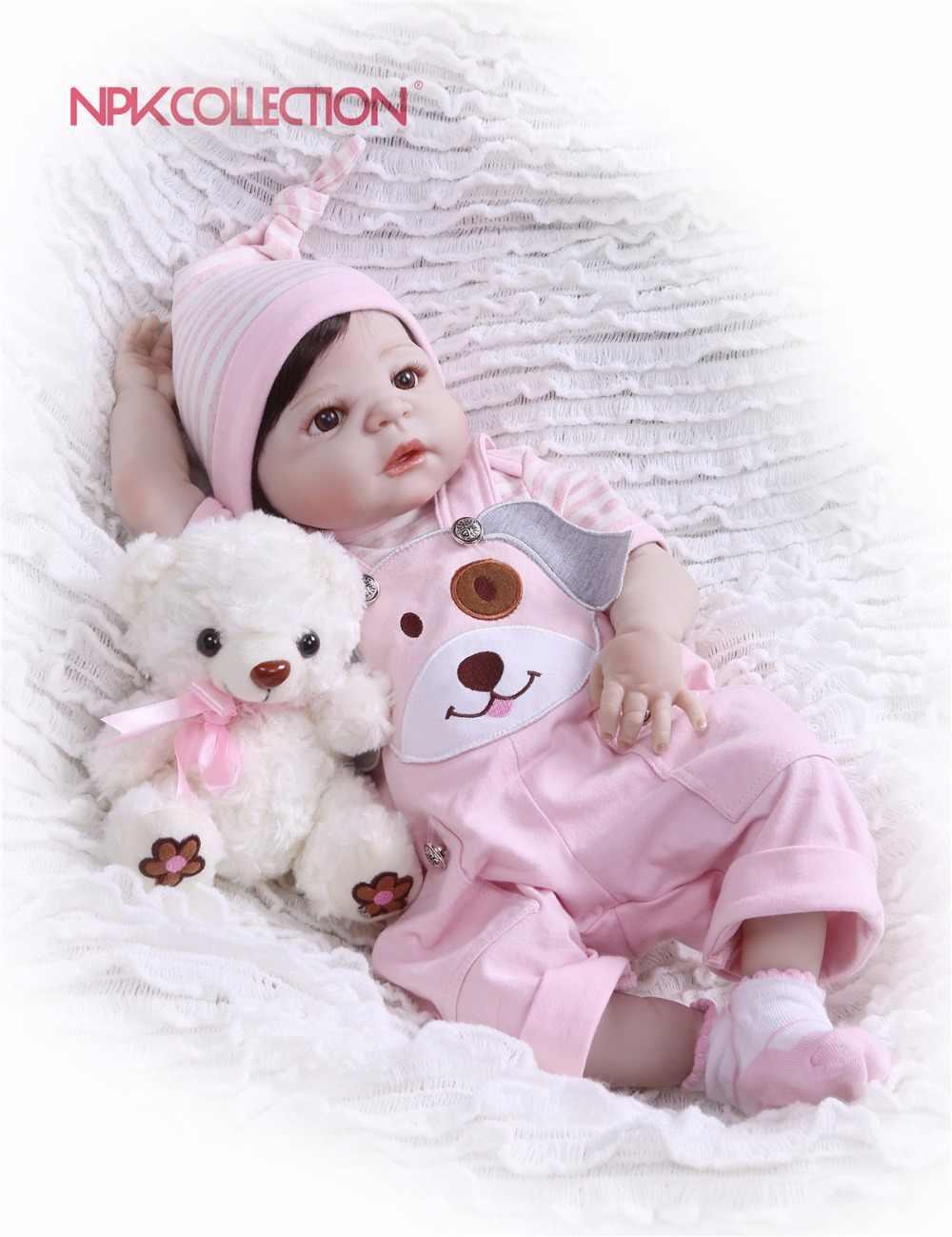 NPK Настоящее 57 см полное тело силиконовые девочка Reborn игрушечные пупсы, куклы принцесса Младенцы волосы для куклы подарок на день рождения Дети Brinquedos