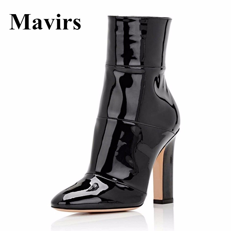 Mavirs 2018 Bout Pointu Chunky Talons hauts Femmes Cheville Bottes Or Noir Blanc Chaussons Chaussures 12 CM Talons Taille 5-15