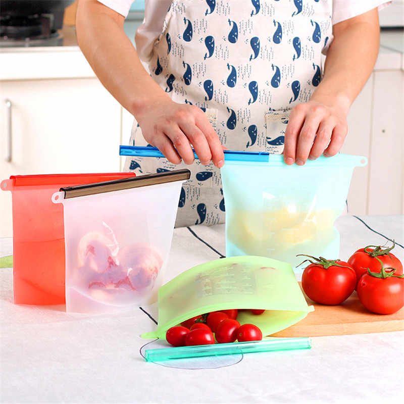 1000ml Reusable Vacuum Seal Food Fresh Bag Silicone Fruit Meat Milk Storage Containers Refrigerator Bag Kitchen Tool