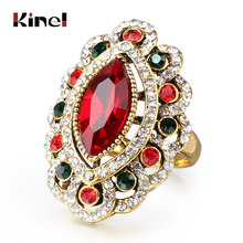Luxury Fashion Green Stone Rings For Women Plating Antique Gold Tibet Alloy India Eye Ring Crystal Gifts