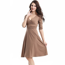 European classic comfort deep V collar waist skirt occupation seven sleeve dress dresses pencil free shipping