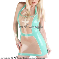 Sexy Halter Nurse Latex Dress With Cross Without Gloves Rubber Uniform Sets LYQ 0141