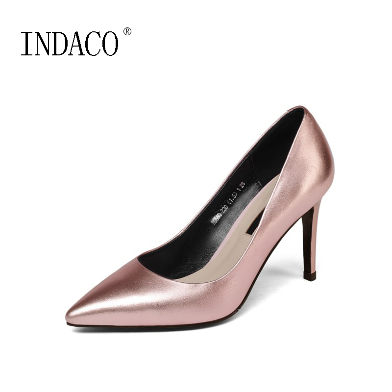 2018 Spring New Metal Genuine Leather Pumps Sexy High Heel Shoes 8.5cm Pink Silver Pointed Toe Party Office OL 2017 new sexy pointed toe high heel women pumps genuine leather spring summer shoes woman fashion dress party casual shoes pumps