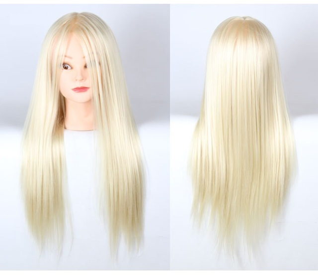 20inch Golden Hair Hair Mannequin Head Practice With Stand Woman Mannequin Head Hairstyling Cosmetology Display Wig For Girls